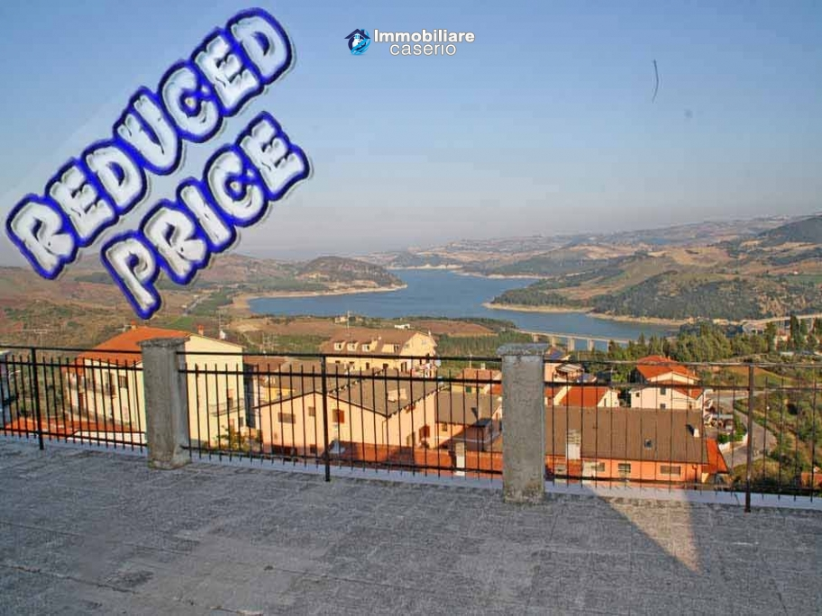 Habitable spacious home with stone tavern, terrace overlooking Liscione lake Italy